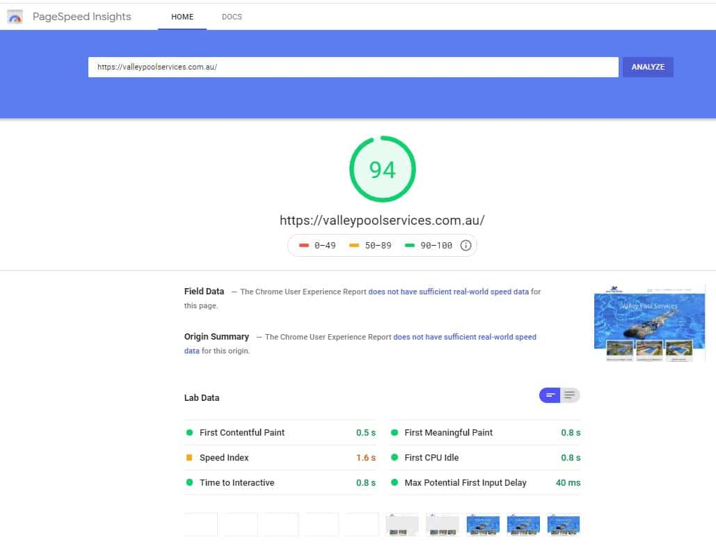 Pagespeed test for new business website