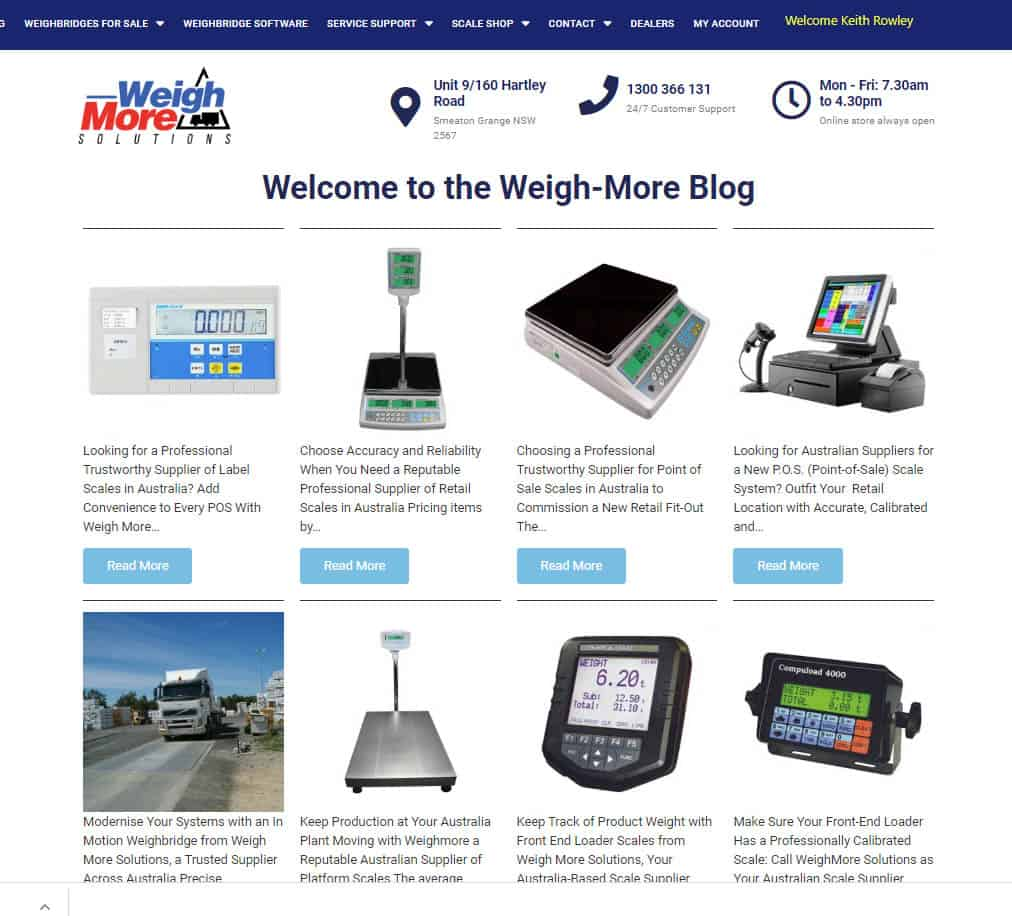 eCommerce Website Blog Page