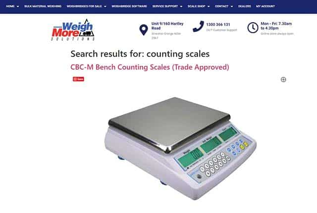 search result on eCommerce Website Weigh-More